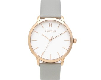Womens Watch Rose Gold, Gray, Blue, or Yellow Leather Wrist Watch for Woman with White Dial, Women Watches,  3rd Anniversary Gift