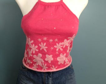 pink halter top, knit top, halter top, size M, boho top, sleeveless top, sequined top