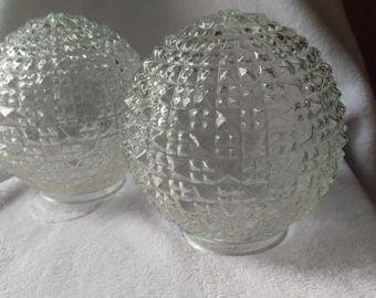 Set Of Vintage Retro Globe Diamond Cut Lamp Shade