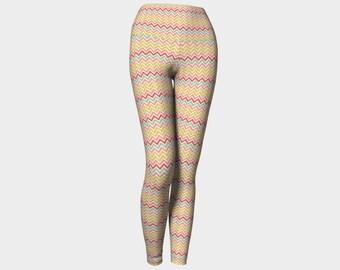 Easter leggings, spring leggings, yoga leggings, pink rainbow leggings, chevron leggings, spring leggings, colourful leggings