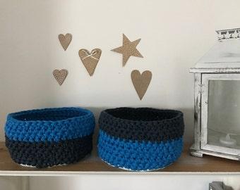 Two crochet basket/ Two storage baskets/ storage basket/ blue/ black/ basket/ baskets/ two baskets/