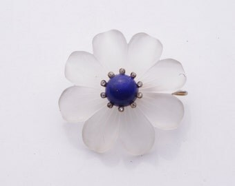Vermeil Carved Crystal, Diamond, & Lapis Flower Brooch