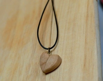 Two Halves of a Heart, Hand Carved Wooden Necklace, Mothers day gift, Handcrafted Cherry Wood Pendant