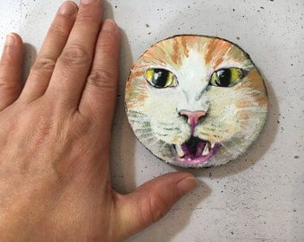 Meow! Cat on wood - wooden disk painted with acrylic paint
