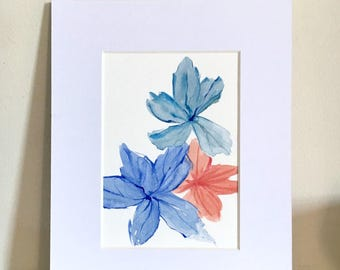 Abstract Original Watercolor, Watercolor Painting, Abstract Flower, Floral Artwork, small painting, wall art, flower watercolor