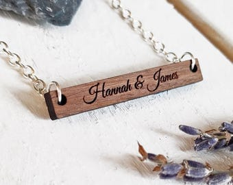 Custom Engraved Bar Necklace - Personalized Necklace - Initials Necklace - Special Date Necklace - Walnut Wood Necklace - Anniversary Gift