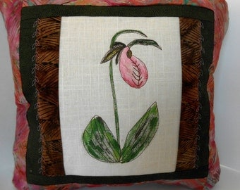 Accent Wildflower Pillow,Beautiful Lady Slipper Pillow,Hand Painted Pillow,Unique Painted Pillow, House warming Pillow, Painted Lady Slipper