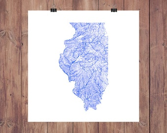 Illinois Rivers & Waterbodies High Resolution Digital Print / Map of Illinois / Illinois Print / Illinois Art / Illinois Map