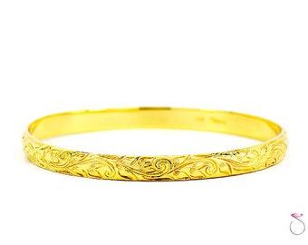 VINTAGE MING'S HAWAII 14K Yellow Gold Hand-Engraved Scroll Design Bangle Bracelet
