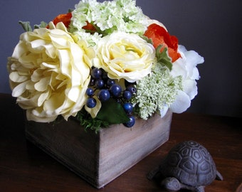 Box of Spring  - Faux Floral Arrangement - Spring Colors Centerpiece