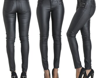 Vegan Leather Waxed Skinny Jeans