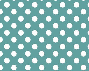 Teal Blue Polka Dot Fabric - Riley Blake Medium Dot - Turquoise and White Dot Fabric