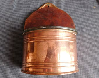 Copper wood salt box and glass Portugal