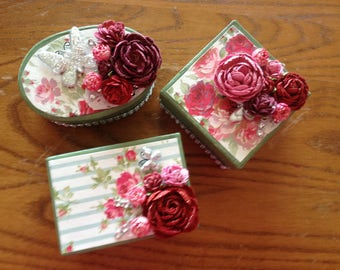 Set of Three Altered Small Gift Boxes