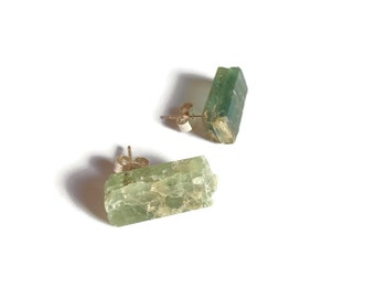 Raw Stone Earrings, Rough Green Kyanite, Sterling Silver Stud Earrings, Raw Mineral