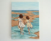 Two Girls Wading in the Sea in Seashell Mosaic with Sand
