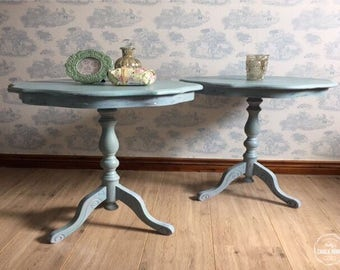 Classic pair of hand painted occasional tables