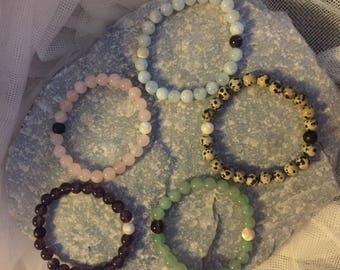 Jade Bead bracelet Moon phase smoky quartz Moonstone Jade gemstone stretch yoga Balance mala prayer bead stack bracelet