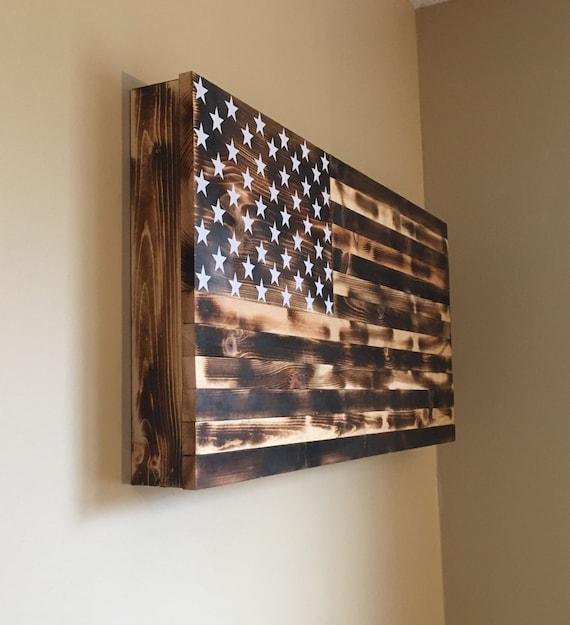 Burnt American Wooden Flag Hidden Gun Cabinet Secret