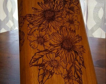 Floral Woodburned Knife Block