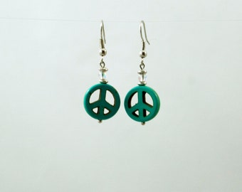 Peace sign earrings turquoise color stone
