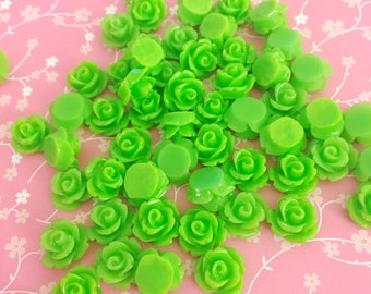 Green Rose Cab | Resin Rose Cabochon | Flower Cabochon | Resin Flower | Resin Rosebuds | 9MM Resin Rose | Flatback Rose | 24 Pieces