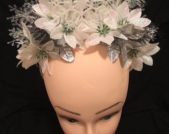 Snowflake Crown Winter Headdress Snow Princess Cosplay White Poinsettias Women's