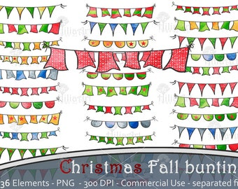 Christmas fall bunting, colored banners, digital clipart, scrapbooking decoration christmas, flag