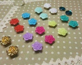 Floral flower topped drawing pins decorative memo board set of 10 flower pins for notice boards