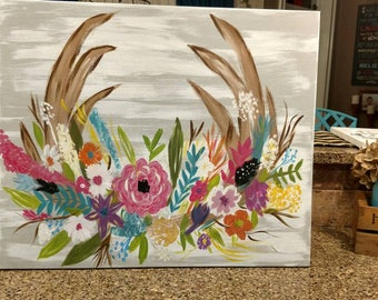 Deer floral hand painted canvas