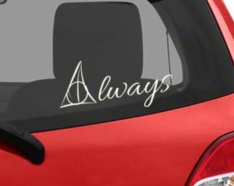 Harry potter car decal - Deathly hallow decal - Always decal - harry potter laptop decal - vinyl decal