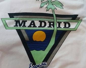 Vintage T-shirt Madrid Espana Spain with Ocean Sun Palm Tree Blue & Green Ringed Sleeves Large
