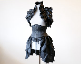 50% OFF Black bustle costume gothic clothing steampunk costume ruffled skirt victorian bolero tie on shrug wrap witch fairy lolita fetish