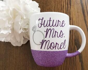 Glitter Future Mrs. Coffee Mug//Porcelain//Tea Mug//Coffee Mug//Bridal//Engagement//Gift//Glitter Dipped