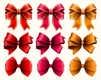 Bow clipart. Bows clip art collection. Ribbon clipart. Vector graphic. Digital art.