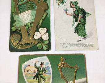 Three 1909-11 St Patricks Day Greeting Cards  G Erin go Bragh Irish Memories Old Irish Jug