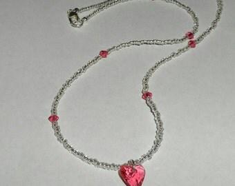 Pink Heart Swarovski & Czech Crystal Necklace