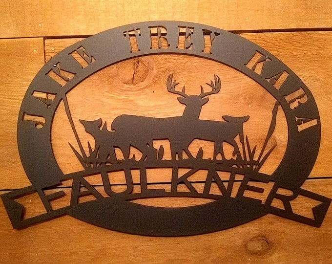 Metal Established Sign, Family Name Sign, Wall Hanging Steel Sign, Cabin Est Sign, Housewarming gift, Christmas gift, Gift for Couple, Deer