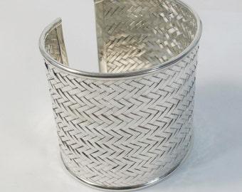 Wide Woven Sterling Silver Cuff