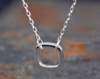 Silver necklace with pendant square necklace ladies 925 Silver Chain jewelry SKE172