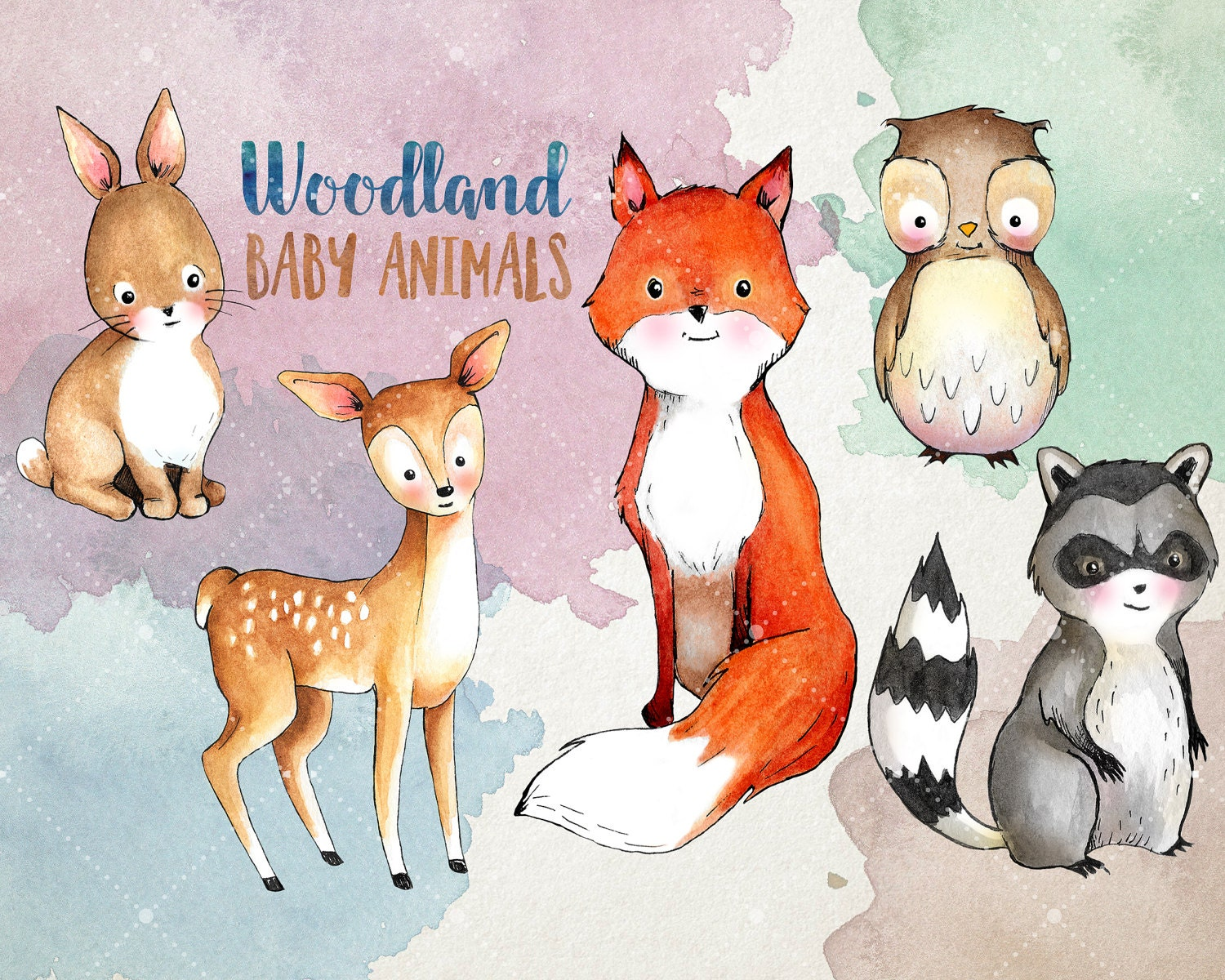Woodland Baby Animals Clipart - Watercolor Clipart ...