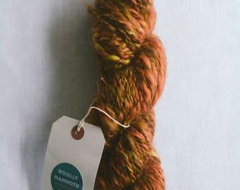 100g Hand Spun, Hand Dyed chunky yarn, Autumn Colours, Made in Ireland, variegated yarn, burnt orange, 100% Wensleydale.