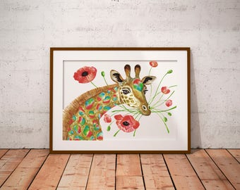 Giraffe Watercolor Print. Animal Flower Illustration. Giclée Print. Giraffe Illustration. Wall Art. Nursery Decor. Birthday Gift