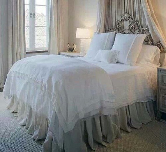 items similar to extra long gathered bed skirt on etsy. Black Bedroom Furniture Sets. Home Design Ideas