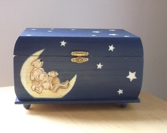 Hand Painted Box Teddy Bears Wishing on a Star