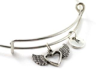 HEART bangle, silver heart bracelet, winged heart charm, initial bracelet, adjustable bangle, personalized jewelry, swarovski birthstone