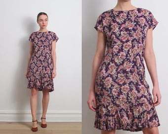 80s Purple Floral Rayon Dress / S