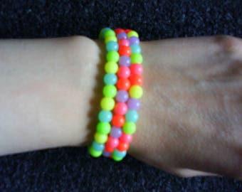 LoliRosa Set Of 3x UV Neon Acrylic Bead Stretch Bracelets