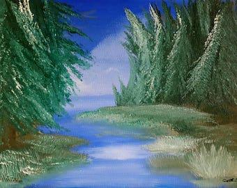 "Oil painting landscape print 8.5""x11"" print - Windchill Lake-"