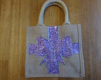 Purple Glitter Bow Jute Bag